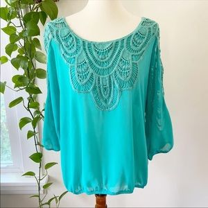 Maurices Aqua Crochet Lace Billow Blouse NWOT